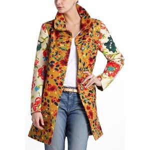 Anthro Elevenses Leopardilly Floral Animal  Coat